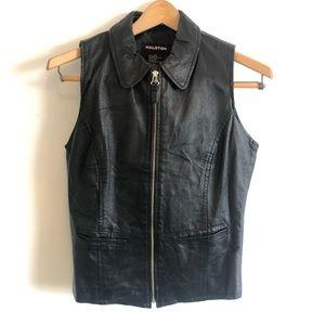 Halston Black Leather Vest